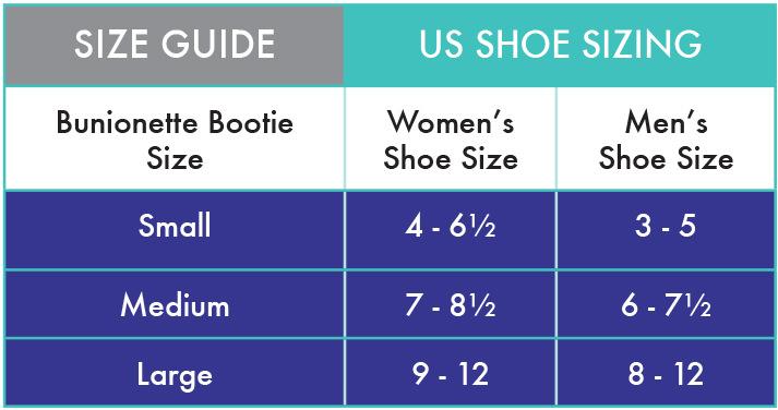 Bunionette Bootie size guide